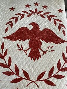 Vintage Red and White Cotton Quilt Eagle Americana
