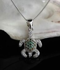 Solid Sterling Silver 925 Turtle Tortoise Pendant 18 Inch Necklace Chain Gift