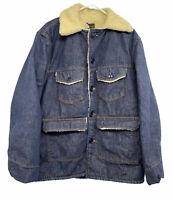 Vintage Roebucks Jean Jacket Men's 44 Blue Denim Sherpa Trucker Farmer USA Sears