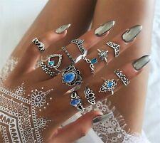 Women 13pc BOHO Silver color Boho Joint knuckle stacking Finger tip Rings set
