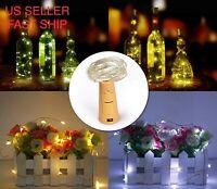 10 Pack Wine Bottle Fairy String Lights 20 LED Battery Cork For Party Wedding 2M