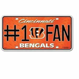 Cincinnati Bengals #1 Fan Metal Sign License Plate Tag Man Cave NFL