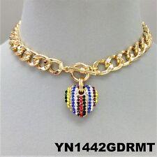 Multi Color Rhinestones Heart Pendant Gold Finish Cuban Link Toggle Necklace