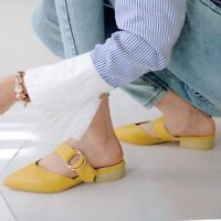 Womens Slip On Chunky Low Heels Mules Pointed Toe Sandals Slippers Beach Shoes