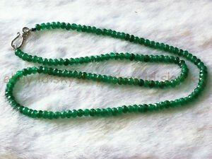 """Genuine 2x4mm Faceted Green Emerald Handmade Gemstone Necklace 18"""" Silver Clasp"""