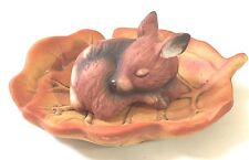Vintage Sweet Ceramic Fawn Sleeping In A Leaf