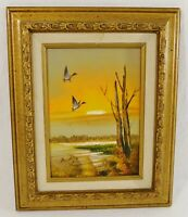"""Small Original Vintage 10x8"""" SIGNED Seascape Nautical Oil Painting Board Framed"""