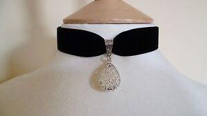 Black Velvet Filigree Teardrop Choker Gothic Medieval Pagan Necklace Pendant
