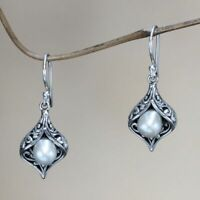 Nice Women 925 Silver White Pearl Hook Drop Dangle Party Jewelry Earrings Gift
