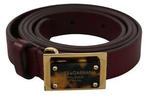 DOLCE & GABBANA Belt Bordeaux Leather Gold Logo Buckle s. 90cm/36in RRP $500