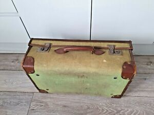 Great Vintage Suitcase Green Canvas with Tan Leather trims