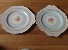 RARE Paragon Art Deco 2 Eared Cake Plates Polka Pattern G 4984/2 c1935