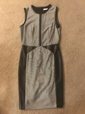 Womens Calvin Klein Dress, Size 4, Black And White, Leather Detail