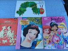 3 Disney Books Snow White, Jewelry Book,101 Dalmatians & Very Hungry Caterpillar