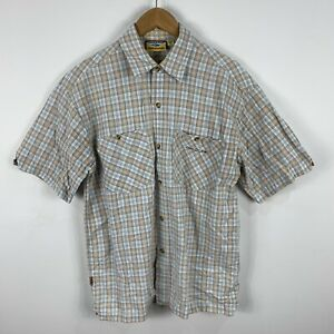 VINTAGE Rip Curl Shirt Mens Medium Multicoloured Plaid Button Up Short Sleeve
