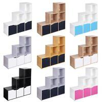 6 Cube Step Storage Bookcase Shelf Unit Doors Wood Home Office Organiser Display