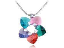 Multicoloured Garden Heart Shaped Petals New Crystal Element Necklace
