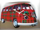 Scottish Tartan Split Screen Design Classic VW Camper Van Wall Clock.New & Boxed
