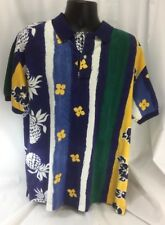 Nautica Hawaiian Knit Polo Large Pineapples Floral Blue Green Yellow Color Block