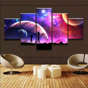 Rick And Morty Poster Awesome Anime Canvas Prints Painting Wall Art Decor 5PCS