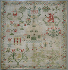 Wonderful! 1797 Antique Dutch Silk On Linen Cross Stitch Needlework Sampler
