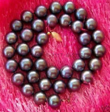 NEW 10-11MM TAHITIAN AAA+++ BLACK Pearl Necklace 14K 18 INCH