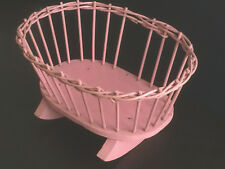 "Vintage Rocking Doll Cradle @ 11"" x 8"" Pink Wood & Rattan/Wicker"
