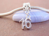 Cute Silver Plated Sweet 16 16th Birthday Slider Dangle Charm fits Euro Bracelet