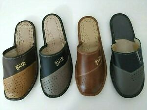 Mens Leather Slippers Mules Size 6 7 8 9 10 11   ALL sizes