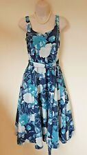 Laura Ashley Blue floral fit and flare Silk blend Dress Size 8 Eur 34 BNWT