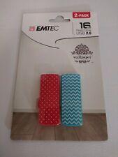 Emtec 2 Pack 16 Gb Flash Drive USB 2.0