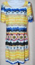 NICOLA ANTONI NWT Pull-on Dress Yellow/Navy White/Black Sz S