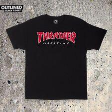Thrasher Magazine OUTLINED SKATE MAG LOGO Skateboard Shirt BLACK XL