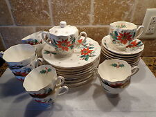 Vintage Lot 36pc RELCO China NOEL Poinsetta Japan HOLLY Christmas Dinnerware