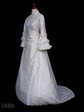 Vintage robe de mariée 1960 s Berkertex Bell manches Boho Taille 10 R615 Halloween