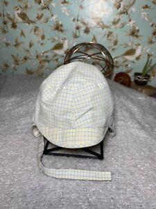 Baby Bonnet VINTAGE Plaid Cotton Lined Ear Flap Chin Strap