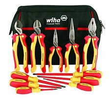 Wiha 32390 Insulated Pliers, Cutters & Drivers 1000 Volt, Canvas Tool Bag, 11 Pc