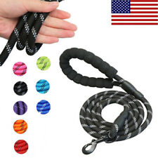 5Ft Dog Leash Large Pet Rope Heavy Duty Reflective Nylon Leads with Comfy Handle