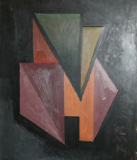 1992 Abstract Cubist Avant Garde constructivism Oil Painting signed