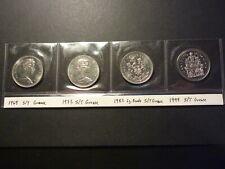 Lot of 4 Canada BU nickel 50c errors, all strike-through grease errors