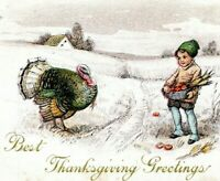 1910 Embossed Turkey and Boy Best Thanksgiving Greetings Postcard FT