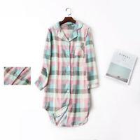 Women's Flannel Boyfriend Nightshirt Nightgown Nightdress Sleepwear Sleepshirt