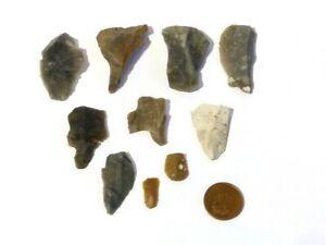10 Original Flint Flakes Prehistoric Hand Thumb Working Tools Yorkshire #F3
