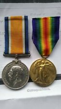 WW1 Pair British War Victory Medal Pte Arthur J A Chambers East Kent Reg Medals