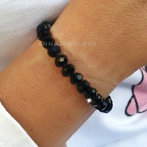 Crystal Glass Beads Black Faceted Elastic Stretch Bracelets Reiki Protect Energy