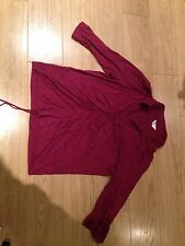 Purple Maroon Long Sleeve Blouse Top with flattering centre gather size 24