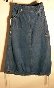 "For Young Girls' Blue Denim Jeans Skirt, 5-Pocket Drawstrings, Size 10 24"" x 27"""