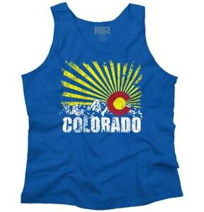 Colorado Flag Rocky Mountains Vacation Gift Adult Tank Top Sleeveless T-Shirt