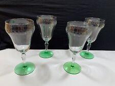 """Art Deco Vaseline Glass Needle Etched Set 4 Stemmed Wine Glasses 7"""" footed 1920s"""