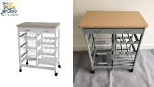 Wooden Kitchen Trolley Top Island Dining Cart Office Worktop Basket Storage